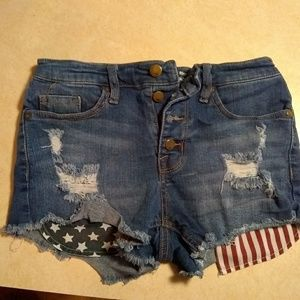 Jean shorts. stars & stripes. Size 4